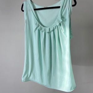 Aritzia mint green ruffle collar t-shirt-large